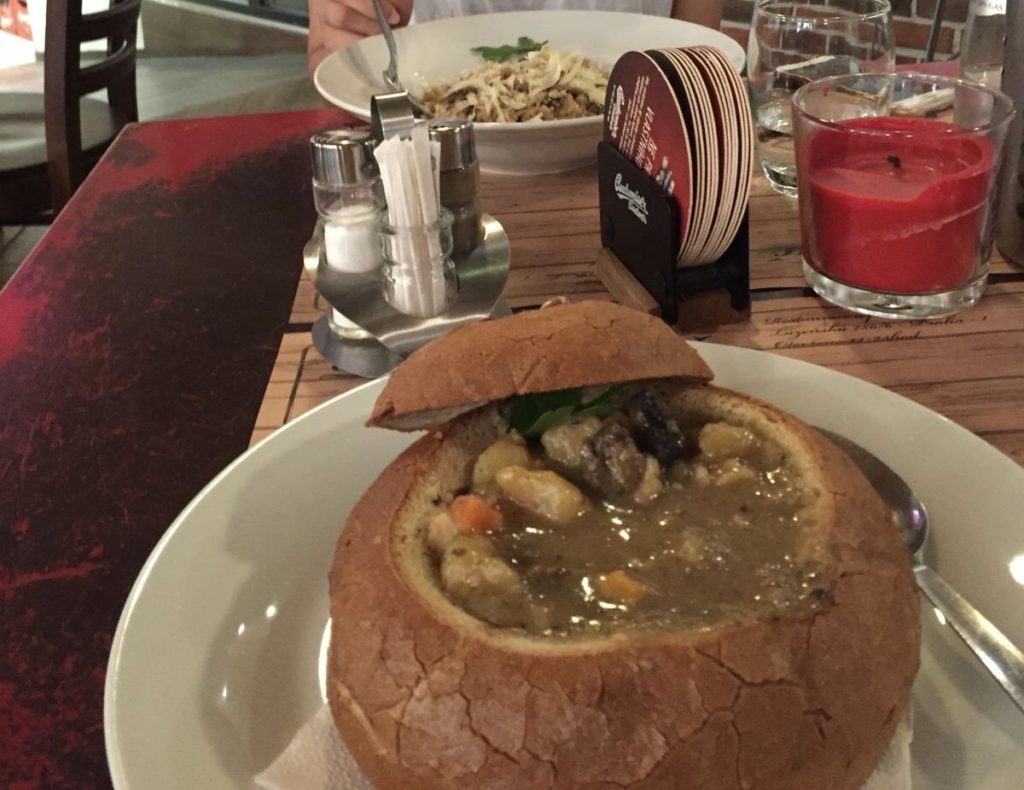 local czech cuisine bread bowl food pasta in prague